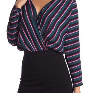 ASTR The Label Striped Long Sleeve Surplice Blouse